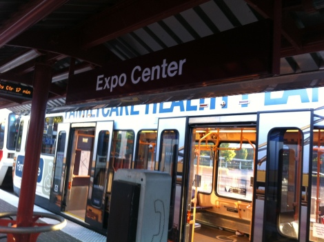 Expo center platform yellow line train MAX portland
